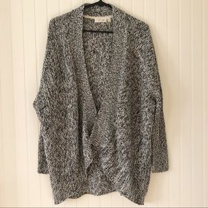 RD Style Grey and White Open Sweater Cardigan